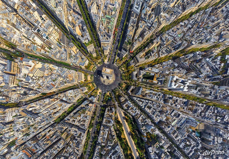Arc de Triomphe in Paris France birds eye view