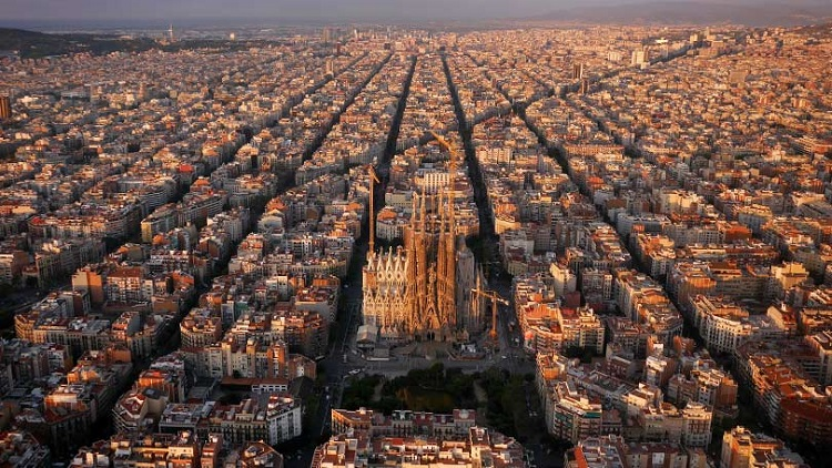 Barcelona Spain Birds eye view