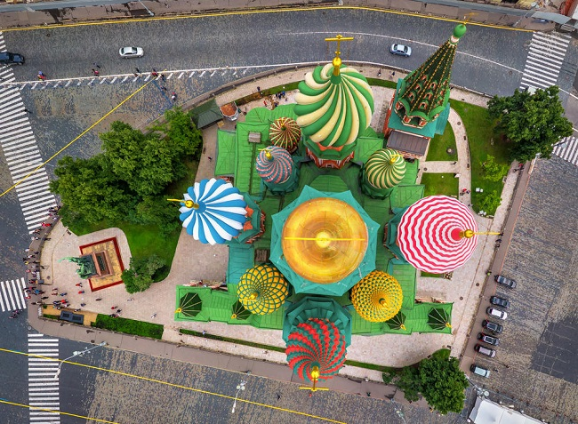 St. Basil's Cathedral in Moscow Birds eye view