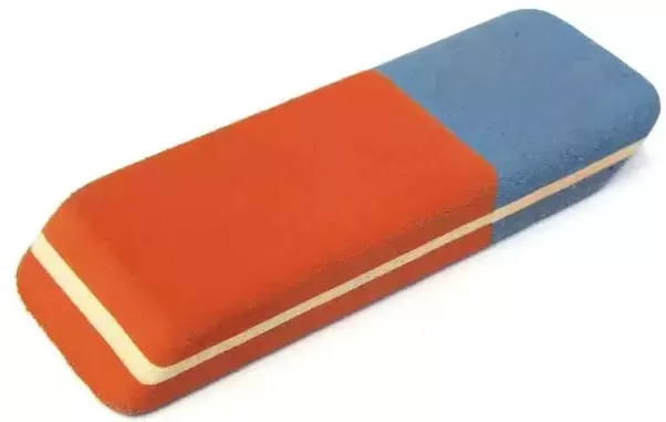 The Blue portion of an eraser