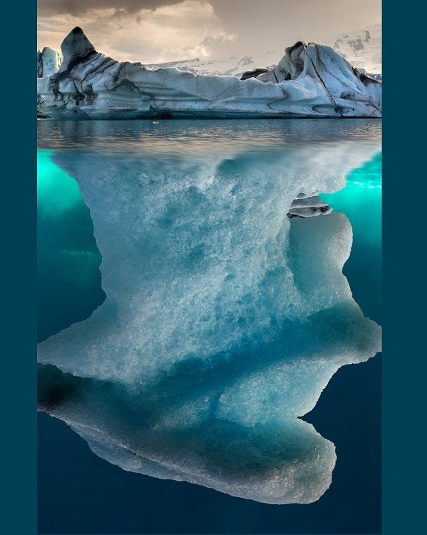 The actual depth of an iceberg