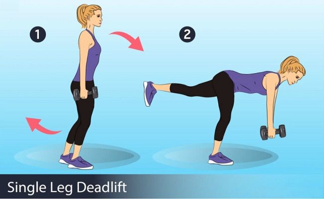 Single straight leg dumbbell deadlift