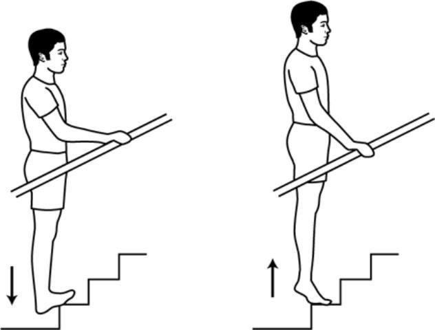 Stair calf stretches
